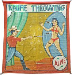 HAND PAINTED SIDE SHOW BANNER FOR A KNIFE THROWER