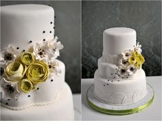 Country Inspired wedding Cake by The Caketress... I think this cake is adorable and kind of want to buy some of those flower shaped pans to try them out