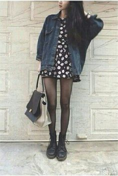 Denim jacket, dress, boots. Look. I need dr.martens tho.