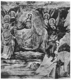 Satans Wette mit Gott, Szene aus der Hiobslegende auf einem Fresko im Camposanto di Pisa, von Taddeo Gaddi ( um 1290-1366)