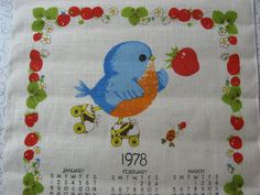 Vintage Linen Calendar Tea Towel, Wall Hanging - 1978 - Robin/Blue Bird, Ladybug, Rollerskating, Straw berries