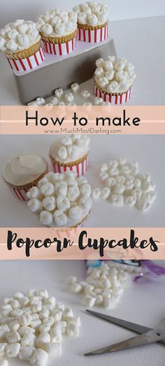 How to make popcorn cupcakes, perfect for a family movie night or a kids party! Super easy DIY recipe!