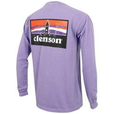 Clemson Tigers Landscape Silhouette Long Sleeve Shirt - Purple