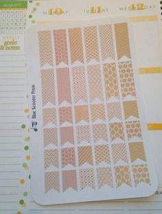 Set of 36 Blush & Gold Pattern Page Flags Stickers. Individually die cut. Perfect for you Erin Condren Planner or agenda.