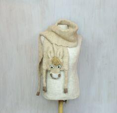 Woolen donkey, soft long shawl, animal scarf, original wrap, winter accessory, warm wool scarf, beige burro