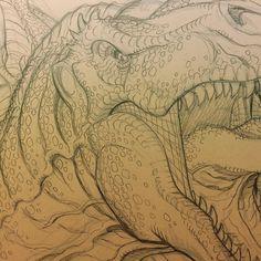 regram @nkwbradshaw Big pointy teeth! #trex #jurassicpark #dinosaur #monsters #sketch #art #drawing