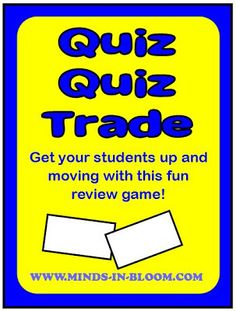 Looking for a new and fun way to use task cards with your students? Try the Kagan cooperative learning game, Quiz, Quiz, Trade. One reason this game is popular with both kids and teachers is that it gets your students up and moving. Not only that, you can use it to review pretty much any subject. Here is how to play: Give each student a
