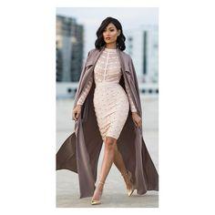 Secret Fantasy Beige Stud Long Sleeve Sheer Mesh Stripe Crew Neck... ($155) ❤ liked on Polyvore featuring dresses, bandage dress, long sleeve dress, striped dress, long sleeve bandage dress and midi dress