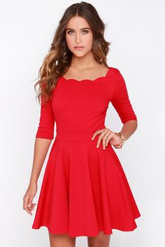 LuLu*s Exclusive! The Tip the Scallops Red Dress never fails to tip the scales in your favor! A fitted bodice comes with half sleeves and a unique and feminine scalloped bateau neckline that's packed with allure. Thick and super stretchy knit twirls from a banded waist into a flirty full skirt. Unlined. 65% Rayon, 30% Nylon, 5% Spandex. Hand Wash Cold or Dry Clean. Made with Love in the U.S.A.