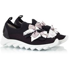 Ras - Black fabric and neoprene flower embellished slip-on trainers (€184) ❤ liked on Polyvore featuring shoes, sneakers, black, slip-on sneakers, flower shoes, slip on shoes, slip on sneakers and black slip on shoes
