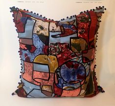 Designer Vintage inspired Cotton Tribal Pillow with Pompons
