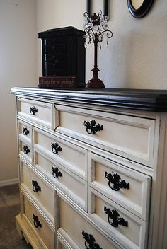 Refinished dresser for our bedroom. redo all our brown furniture in black/white distressed ... wish me luck!