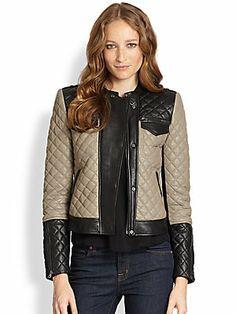 BCBGMAXAZRIA Contrast Leather Moto Jacket