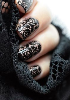 Love the lace!!  ===  45 Glam Wedding Nail Art Designs to try this Year - Latest Fashion Trends