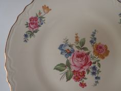Dinner Plate by SCIO Hazel Pattern 1940s/ Shabby Pink Rose Scalloped edge with Gold Trim / Vintage Dishes by Feisty Farmers Wife. $12.00, via Etsy.