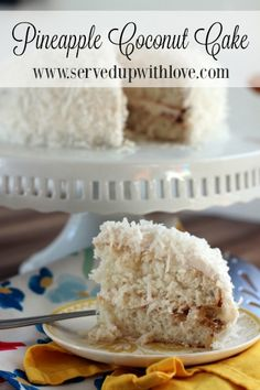 Pineapple Coconut Cake recipe from Served Up With Love. The perfect flavor of the tropics in cake form to chase those winter blues away. #kauffmansfruitfarm www.servedupwithlove.com