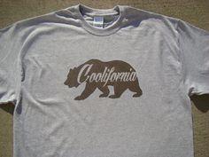 Coolifornia Mens Tshirt - 2XL, 3XL.4XL - CA Bear - CA Tee shirt