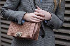 Boy bag by Chanel, Quatre ring by Boucheron, vintage jacket by Stella McCartney