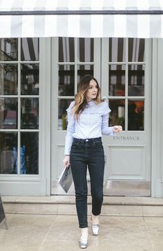 Spring style inspiration via What Olivia Did. Ruffled blouse, jeans, and silver shoes. Such a pretty outfit.