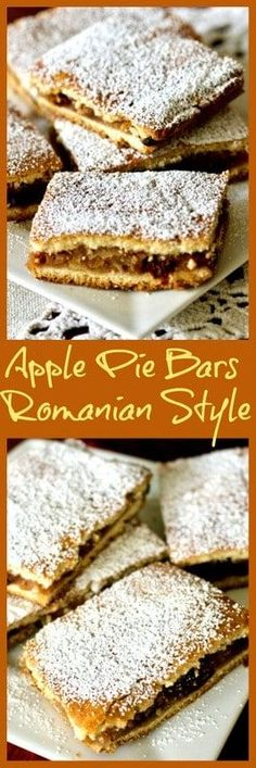 Easy Apple Pie Bars (Slab Pie Apple Pie Bars- Romanian Slab Pie Recipe is a traditional dessert from Transylvania, Romania, baked in a jelly roll pan, cut in squares and dusted with powder sugar. Healthy Apple Desserts, Baked Apple Dessert, Apple Dessert Recipes, Apple Recipes, Easy Desserts, Fall Recipes, Thanksgiving Recipes, Brunch Recipes, Delicious Recipes