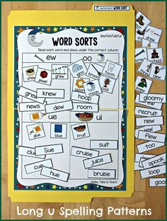 ew/oo/ue/ui file folder word sorting activity. Great way to introduce the spelling patterns of long u.