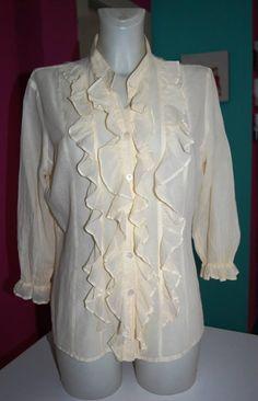 CAMICIA DONNA I BLUES TG48 Ruffle Blouse, Victorian, Tops, Dresses, Women, Fashion, Vestidos, Moda, Women's