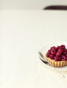 lemon lime tartlet with fresh raspberries