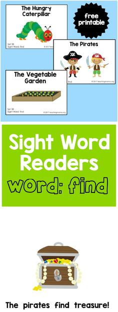 Happy Friday! I have just 5 more sight word readers to share with you before I'm done sharing them for the pre-primer sight word list. Yay! Today's word is 'find', which is also a pretty easy word for kids to sound out. In this download, there are these 3 booklets: The Hungry Caterpillar The Pirates …