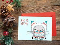Biglietto stampabile Let it snow gatto di Cestinodimirtilli