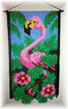 Beaded Flamingo Banner is aprox. 18 X 10 The picture does not do it justice it is very bright and colorful. Hang on a wall, door, or in a window. Pony Bead Patterns, Beading Patterns Free, Peyote Patterns, Stitch Patterns, Pony Bead Projects, Pony Bead Crafts, Beaded Crafts, Picture Banner, Seed Bead Flowers