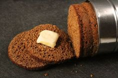 New England Brown Bread. Steamed in a coffee can, this bread is dark and delicious