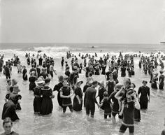 1910 Bathers at Atlantic City, The Jersey Shore, NJ, USA - not a G string in sight!