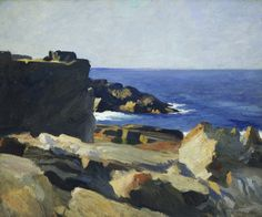 Square Rock, Ogunquit by Edward Hopper. Museums: The Whitney Museum of American Art; Whitney Museum of American Art, New York; Medium: Oil on canvas; American Realism, American Art, Landscape Art, Landscape Paintings, Edward Hopper Paintings, Monhegan Island, Whitney Museum, Seascape Paintings, Art History