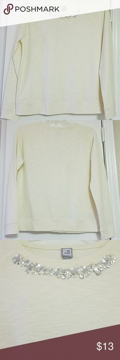 NWOT White long sleeve shirt with jewels NWOT White long sleeve shirt with jewels on neckline. Very pretty shirt. Would be great paired with dark jeans or a colored skirt. jcpenney Tops Tees - Long Sleeve