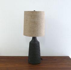 Unglazed Carved Black Angle Lamp / Victoria Morris Pottery