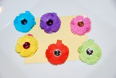 Colorful Felt Flower Hair Clips with by lilibirdbowtique on Etsy, $19.99