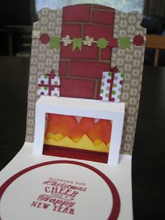 Greeting from Christmas Messages.  Santa's chimney created with the Dress Form insert and Pop N Cuts cardbase.