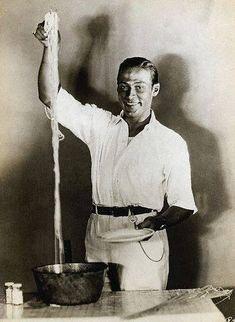 Rudolph Valentino with long spaghetti