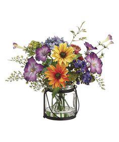 Daisy & Morning Glory Jar Arrangement #zulily #zulilyfinds