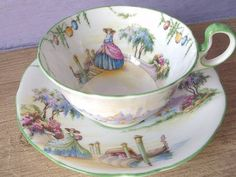 Antique Aynsley tea cup set, Victorian woman, southern belle crinoline dress, English tea set, shabby chic tea cup and saucer This set has Tea Cup Set, Cup And Saucer Set, Tea Cup Saucer, Coffee Cups And Saucers, Teapots And Cups, Teacups, Tea And Crumpets, Antique Tea Cups, China Tea Sets