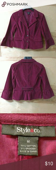 "Dark magenta corduroy blazer Corduroy blazer in deep magenta. Gathered sleeve detail, back placket and 3 button front. Minimal wear. Very good condition. Length approx 21"", Armpit to armpit is approx 20"". Style & Co Jackets & Coats Blazers"