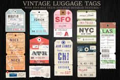 Vector Customizable Luggage Tags by FourLeafLover on Creative Market