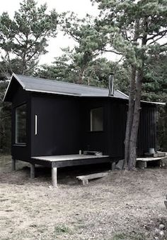 Tiny prefab wooden cabin with sauna and bedroom/living room perfect for two! Inspired by local fishing huts on the island of Trosso, Sweden by Septembre. Bungalow, Ideas De Cabina, Architecture Parisienne, Prefab Cabins, Cabin In The Woods, Weekend House, Little Cabin, Small Buildings, Wooden Cabins