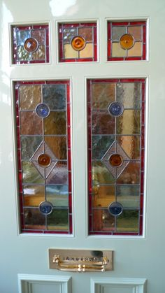 A Victorian Style Stained Glass Front Door incorporating 3 over 2 glazed panels Stained Glass Door, Stained Glass Designs, Leaded Glass, Victorian Stained Glass Panels, Broken Glass Art, Sea Glass Art, Glass Beach, Water Glass, Glass Front Door