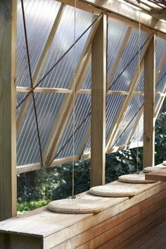 Operable awnings polycarbonate cladding on timber frame herbst architects
