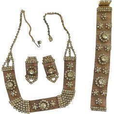 Vintage Gold Tone Rhinestone Diamante Mesh Necklace Bracelet Earring Set Offered by Ruby Lane shop Cousins Antiques