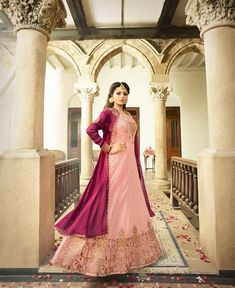 Maroon Pink Combination Jacket Style Designer Gown