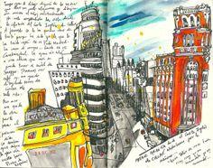 La Gran Via by inmaserranito || watercolor journal