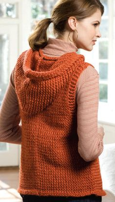 Believe it! A loom knit vest with a hood.