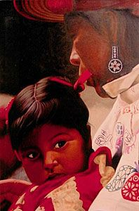 Niña Huichola Con Moño ........Oil Painting on Canvas #Huichola